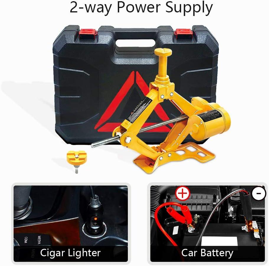 3Ton WOKEZ Electric Car Jack Auto Floor Jack All-in-one Scissor Lift for Sedans SUV Double Saddles Remote Tire Change Repair Emergency Tool Kits Vehicle Floor Jack Wheel Change