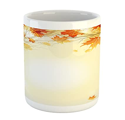 f834746156 Ambesonne Fall Mug, Soft Image of Faded Shedding Fall Leaves from Tree  Motion in Nature