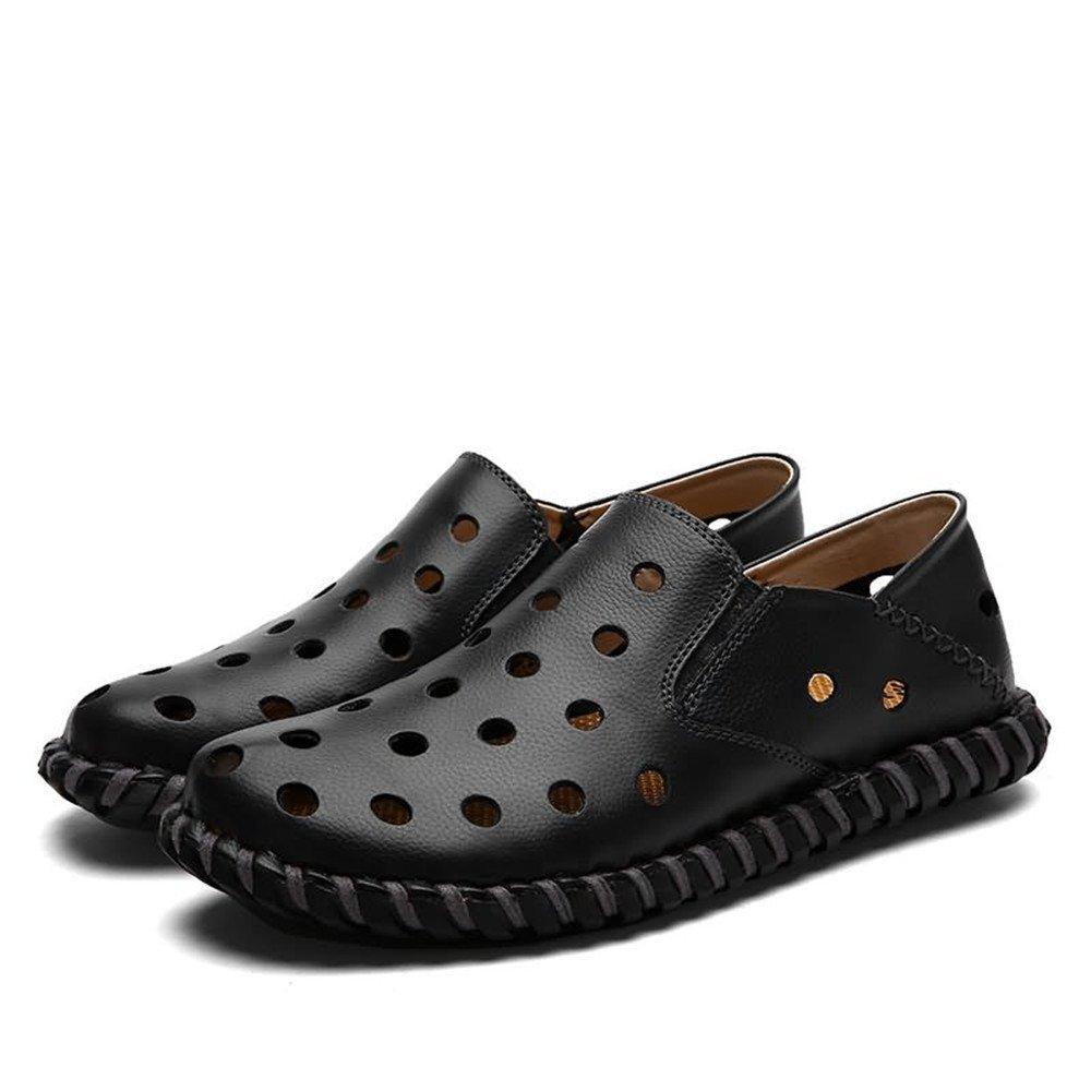 Sandalias Huecas de Moda de tacón Plano Zapatos de Deslizamiento de los Hombres 43 EU|Negro