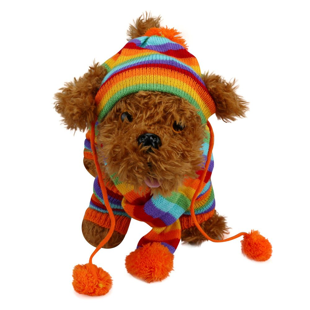 6Pc/Set Dog Pet Puppy Hat Scarf Leg Warmer Pet Clothes Neckerchief Autumn Winter Dog Cat Scarf Collar Pet Scarf Teddy Poodle Scarf Bichon Scarf Dog Bibs Dog Bandana Scarf (Multicolor, XS) by succeedtop (Image #1)