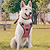 Babyltrl Large Dog Harness No Pull Anti-Tear Adjustable Pet Reflective Oxford Soft Vest for Large Dogs Easy Control Harness (Dog Collar Included) (XL, Pink)