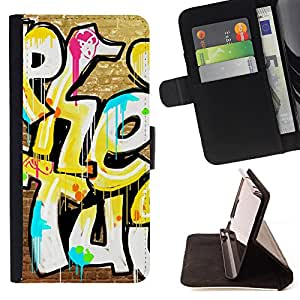- Graffiti art style Pattern - - Premium PU Leather Wallet Case with Card Slots, Cash Compartment and Detachable Wrist Strap FOR Apple iPhone 5 5S King case