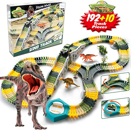GMAXT Dinosaur Toys 192 Piece Train Tracks Dinosaur Toy for Kids for Kids,STEM Toys,Best Building Toys Gift for 3+ Year Old Boys&Girls,Add 6 Dinosaur and 4 Soldiers