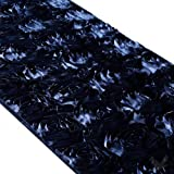 Koyal 15 by 116-Inch Satin Rose Embroidered Table Runner, Navy Blue by Koyal