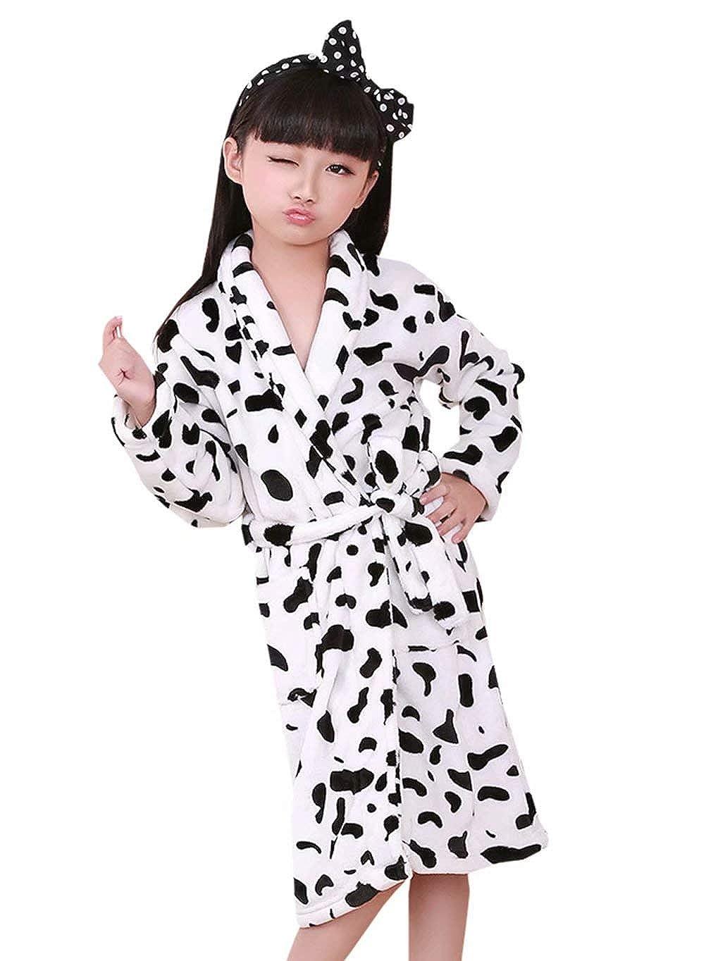 Boys Girls Flannel Bathrobe Cow Cartoon Pajamas Cosplay Plush Robe Long