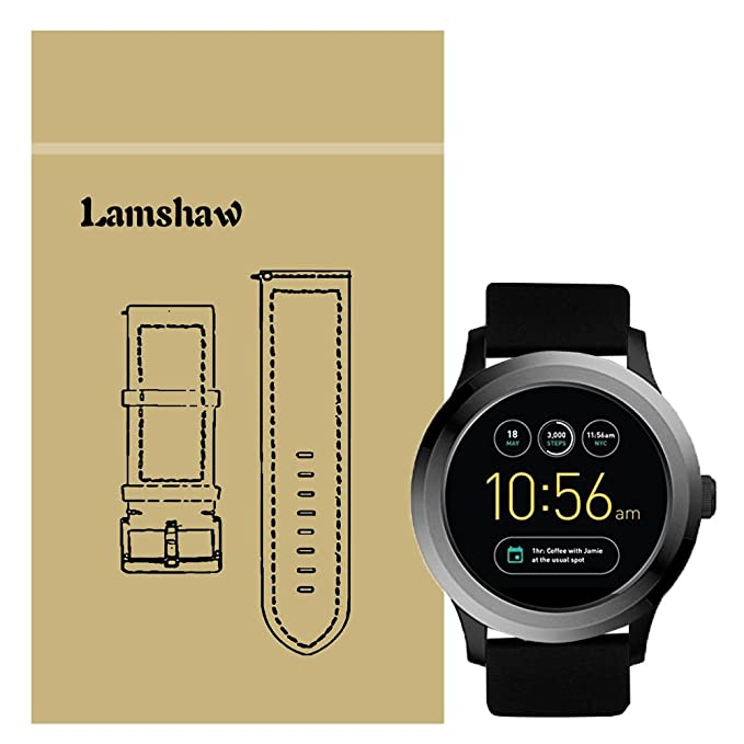 Lamshaw for Fossil Q Founder Band, Classic Silicone Replacement Straps for Fossil Q Founder Gen 1 / Gen 2 (Silicone-Black)