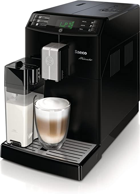 Saeco HD8763/01 Minuto One Touch - Cafetera automática (1,8 L, 15 bar, 1850 W, recipiente para leche integrado, función de memoria, sistema de molido de cerámica), color negro: Amazon.es: Hogar