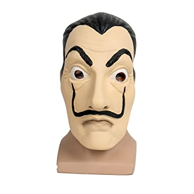 Molagogo Casa De Papel Face Mask Salvador Dali Cosplay Movie Realistic Halloween Party Latex Masks Mascara