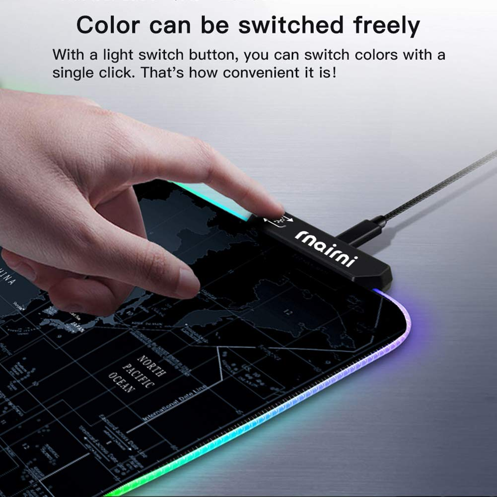 Extended RGB Gaming Mouse Pad, Extra Large Gaming Mouse Mat for Gamer, Waterproof Office DEST Mat with 10 Lighting Mode, for PC Computer RGB Keyboard Mouse MacBook - 31.5'' x 15'' x 4mm by rnairni (Image #4)