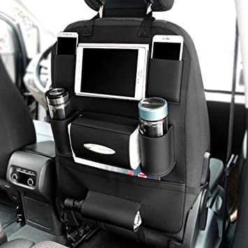 Pu Leather Car Seat Back Organizer Holder Multi Pocket Travel Storage Bag For Cars SUVs