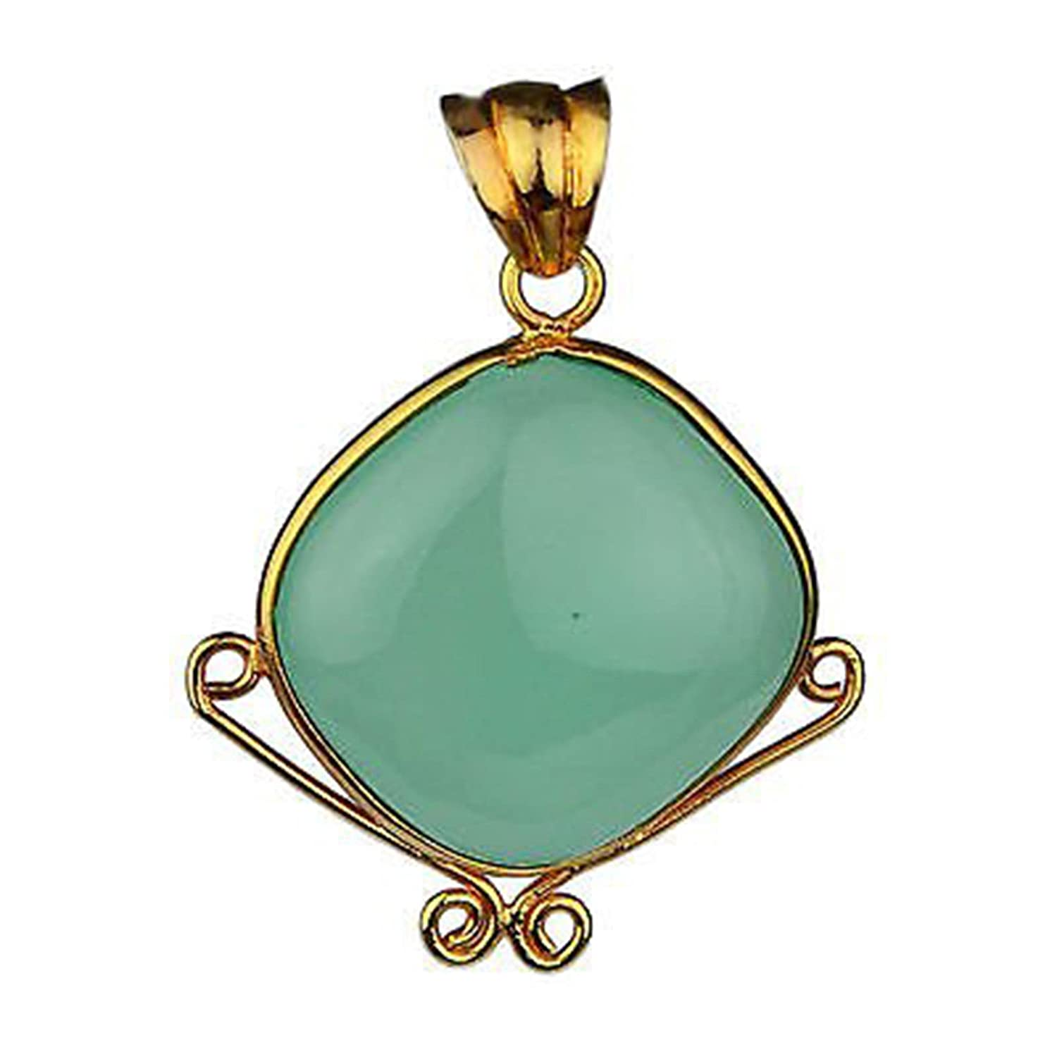 Crystalcraftindia Chalcedony gemstone 925 Sterling Silver rose gold plated Pendant 10.58 g