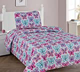 Elegant Home Cute Girls Butterflies Floral Multicolor Blue White Pink 2 Piece Twin Size Coverlet Bedspread Quilt for Kids Teens / Girls # Butterfly Blue (Twin)