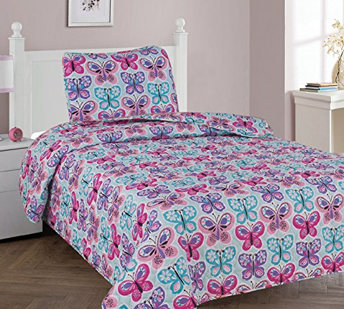 Elegant Home Cute Girls Butterflies Floral Multicolor Blue White Pink 2 Piece Twin Size Coverlet Bedspread Quilt for Kids Teens / Girls # Butterfly Blue (Twin) by Elegant Home