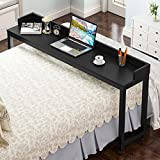 Overbed Table with Wheels, Tribesigns Mobile Desk with Heavy-Duty Metal Legs, Super Sturdy and Stable (Black)