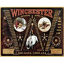 Winchester Bullet Board Cartridge Chart Hunting Retro Vintage Tin Sign - 13x16