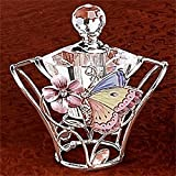 StealStreet SS-A-51690 Lovely Pink Butterfly Perfume Bottle with Silver Colored Trim
