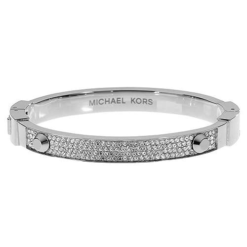 4fbf813af4008 Michael Kors Silver-Tone Crystal Pave Astor Stud Bangle Bracelet  MKJ2746040  Michael Kors  Amazon.ca  Jewelry