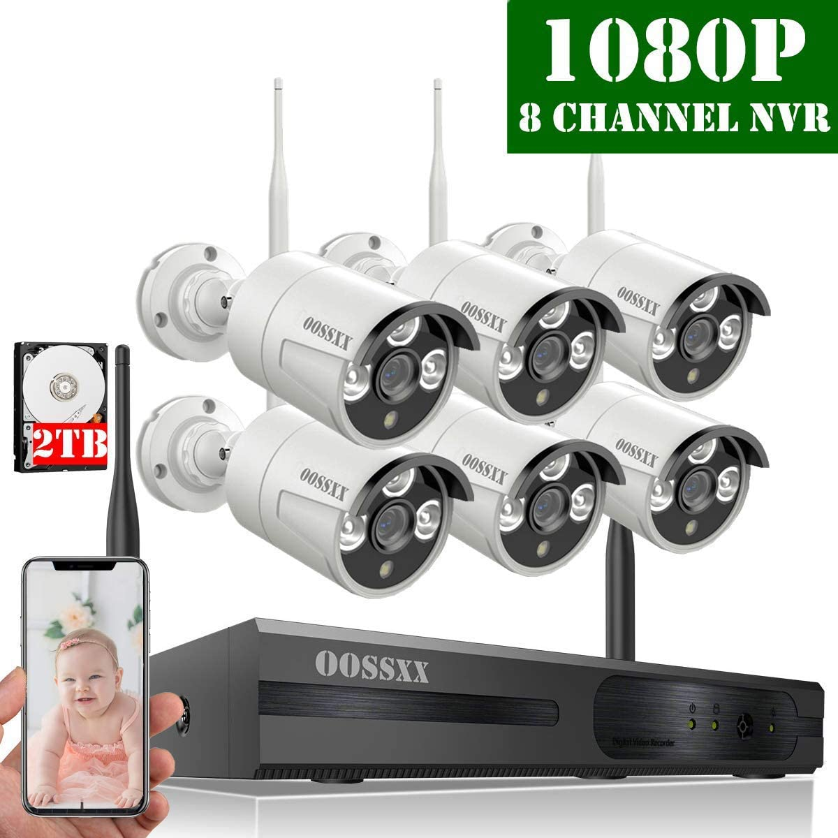 2020 Update HD 1080P 8-Channel OOSSXX Wireless Security Camera System,6Pcs 1080P 2.0 Megapixel Wireless Indoor Outdoor IR Bullet IP Cameras with One-Way Audio,P2P,App, HDMI Cord 2TB HDD