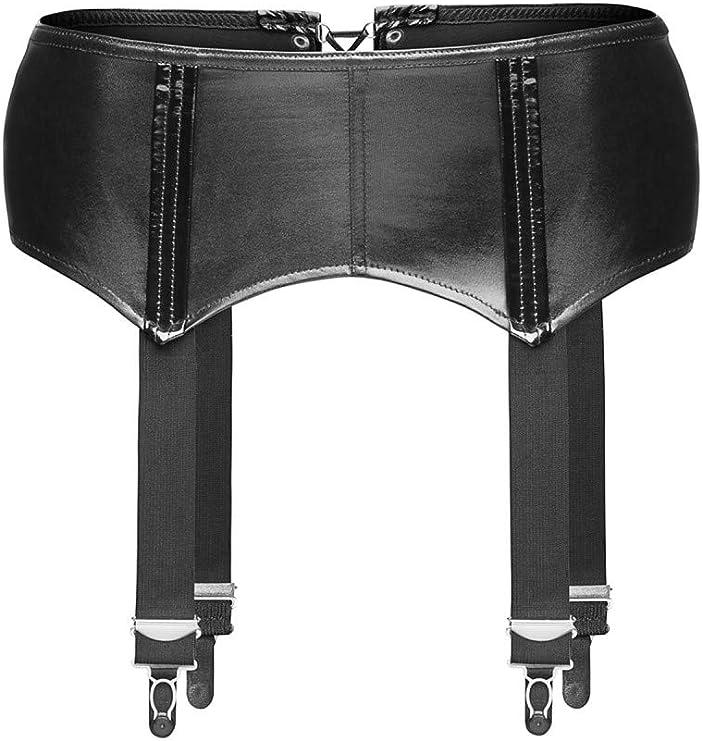 Black Suspenders Belt S M L XL Coquette Wet Look Zipper UK Seller