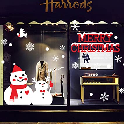 merry christmas decorations white christmas snowman window clings decal stickers thanksgiving decorations ornaments party supplies - Amazon White Christmas Decorations