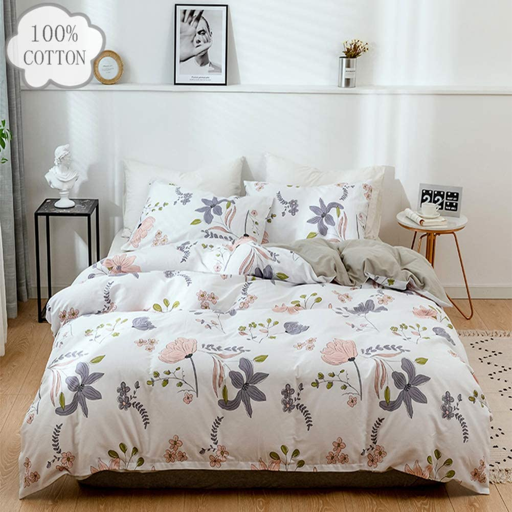 Botanical Duvet Cover Set 100% Cotton Bedding Set Flowers and Green Leaves Floral Garden Pattern Printed on White for Women Girl 3 Piece, Twin