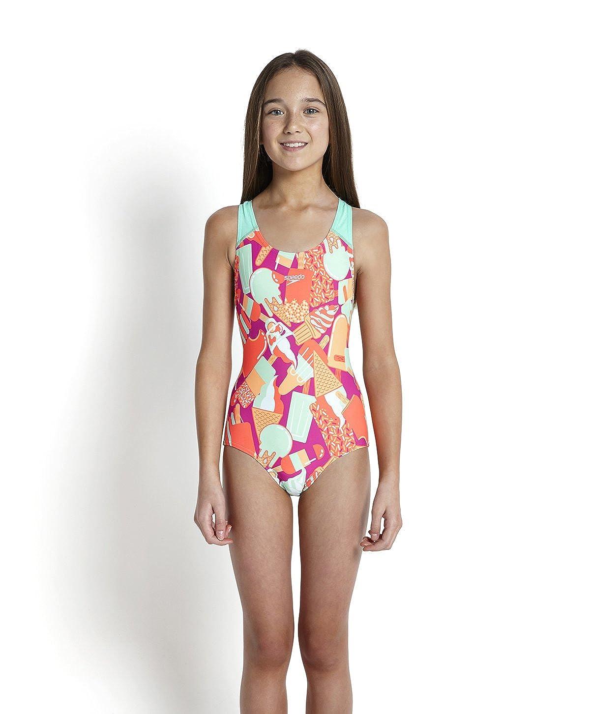 Speedo Girls All-Over Splash Back Print 40 Swimsuit-Ecstatic//Sea Foam//Siren//Papaya Punch Size 34
