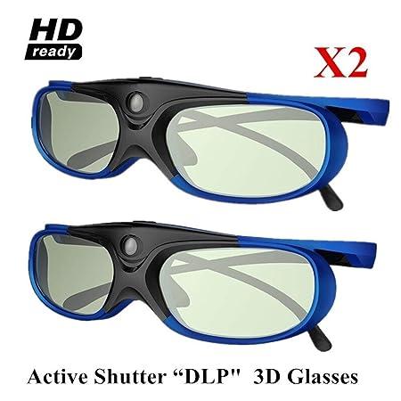 MMSY 2pcs Obturador Activo Recargable Gafas 3D Soporte 144Hz For ...