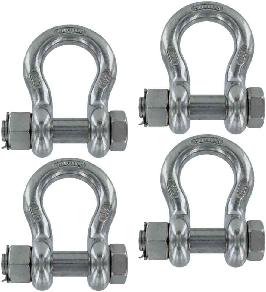 Each With a 3 Ton Capacity 3//4 Inch Stainless Steel Type 316 Bolt Type Anchor Shackles in a 4 Pack