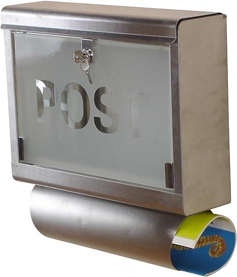 Caja para cartas de acero inoxidable con puerta de cristal tamaño: 42 x 40 x 12 cm-PEGANE-: Amazon.es: Hogar
