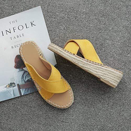 39 ZHRUI Slip Nero Donna Shoes Espadrillas EU Dimensione on Toe Stitching Sandali Giallo Flat Colore Peep 6B6g0Awrfq
