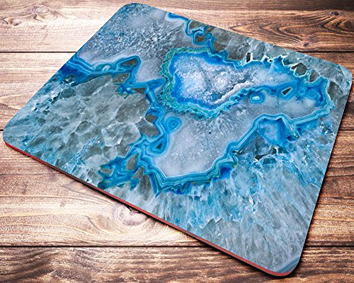 Blue AGATE Stone Mineral Mouse Pad Rectangle Turquoise Mousepad Office Desk Accessories for Women Coworker Gifts