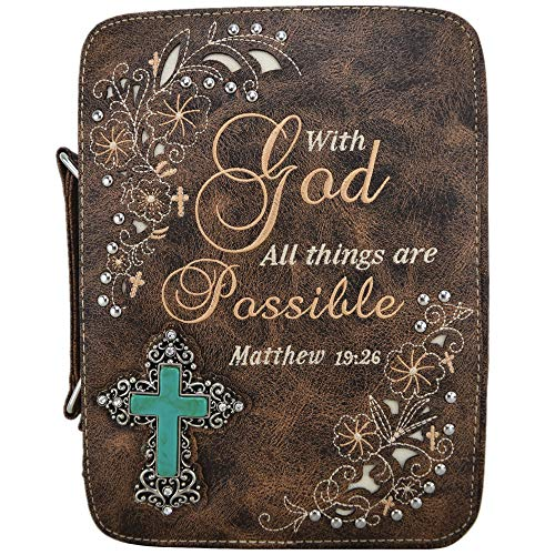 (Western Style Bling Rhinestone Cross Country Women's Bible Cover Books Case Removable Strap Messenger Bag (ScripturesCoffee))