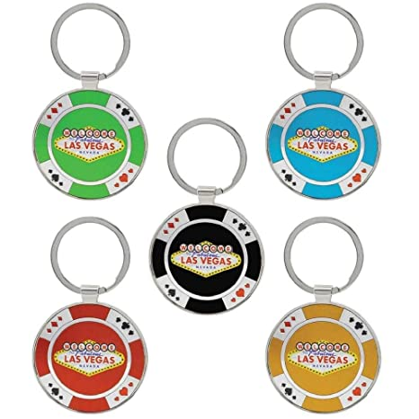 Keychain Las Vegas Casino Poker Chip Key Chains - Pack of 6 - Gambling Play Poker - 6 Different Colors - Play Poker