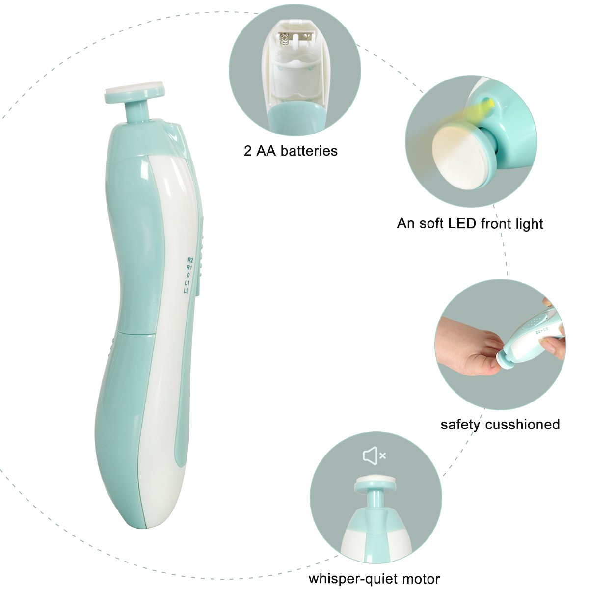 Wlive Baby Electric Nail File Grooming Kit Safe for Newborn Infant Toddler Kids, LED Light and 6 Grinding...