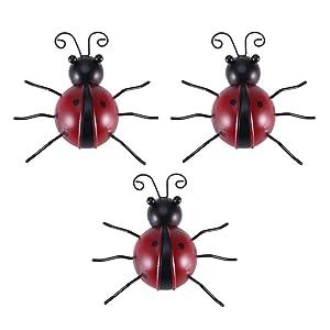 Vosarea 3pcs Iron Ladybug Metal Animal Hanging Wall Art Hanger Indoor Outdoor Garden Home Decoration
