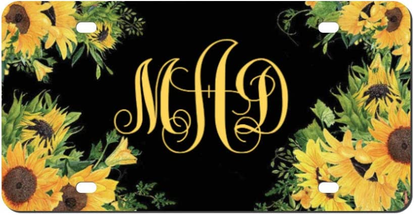 Higoss Custom License Plate Sunflower Monogram Car Tag Monogram Car Tag Car Accessory Vanity Car Tag, Auto Decor, New Car Gift,Personalized Floral License Plate, 6
