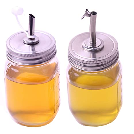 f1b40315f3ca 2 Pack Oil Infusions Lid, Oil Pour Spout Dispenser with Caps for Mason Jar  lids, for Kitchen Cooking BBQ. Fit Regular Mouth, 18/8 Stianless Steel, Not  ...