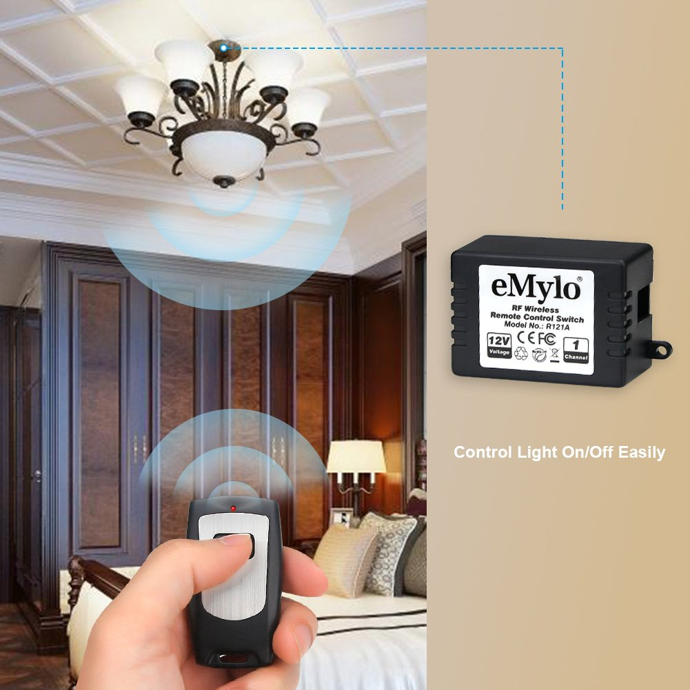 Emylo Dc 12v 1 Channel 433mhz Rf Wireless Relay Remote Control 12 Volt Led Strip Light Wiring Diagram Free Picture Momentary Switch Self Lock Transmitter With Receiver For Home Use