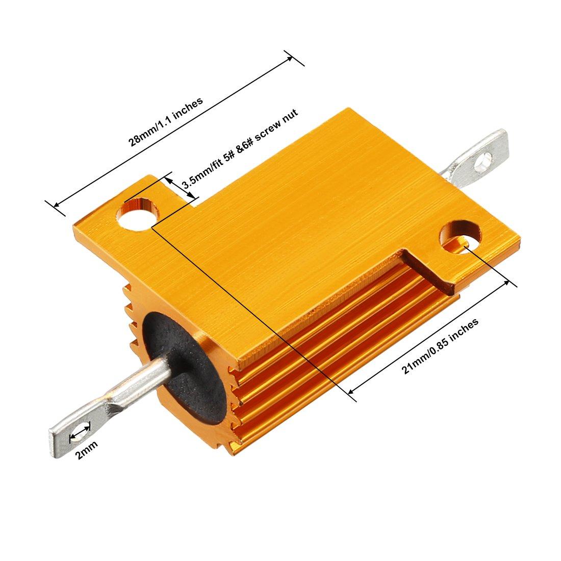 sourcingmap 25 Watt 50 Ohm 5/% Aluminum Housing Resistor Screw Tap Chassis Mounted Aluminum Case Wirewound Resistor Load Resistors Gold Tone
