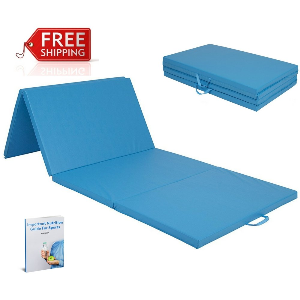 Thick Folding Panel Gymnastic Mat Blue Floor Workout Folding Yoga Tumble For Girls And Boys 4 Panels Eco-Friendly Fitness Acrobatic Tumbling Gym Landing Exercise For Home And eBook By NAKSHOP