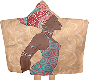 Carmaxs Custom Hooded Towel, Tribal Native Trend Child Bathroom Birthday Gifts Beach Bath Poncho Towel, 32 x 50 inces