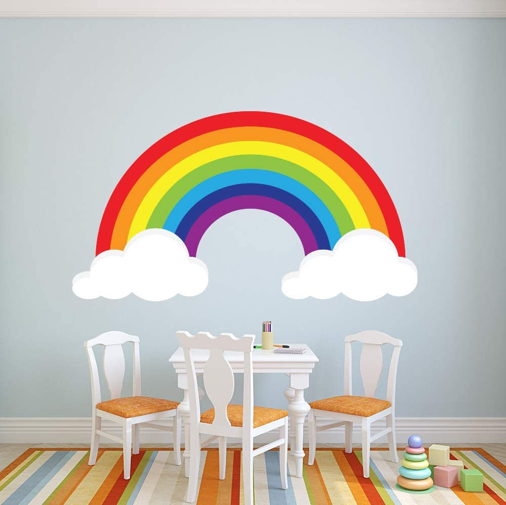 """Rainbow Wall Decal Art Girls Bedroom Nursery Wall Decor Removable Vinyl Wall Stickers Room Decor ND21 (44""""W x 24""""H inches)"""