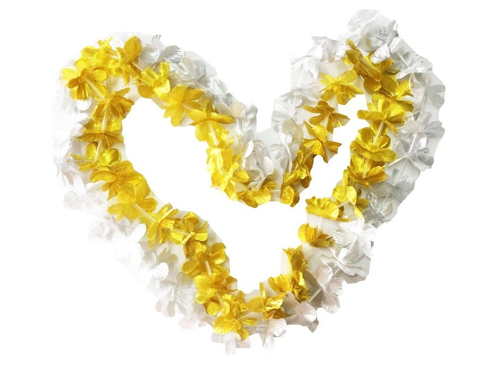 PARTYMASTER Gold&Silver Party Decorations Flower Leis Tropical Party,Pack of 30 by PARTYMASTER