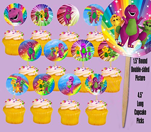 Party Over Here Barney Purple Dinosaur Double-Sided Cupcake Picks Cake Toppers -12 pcs -