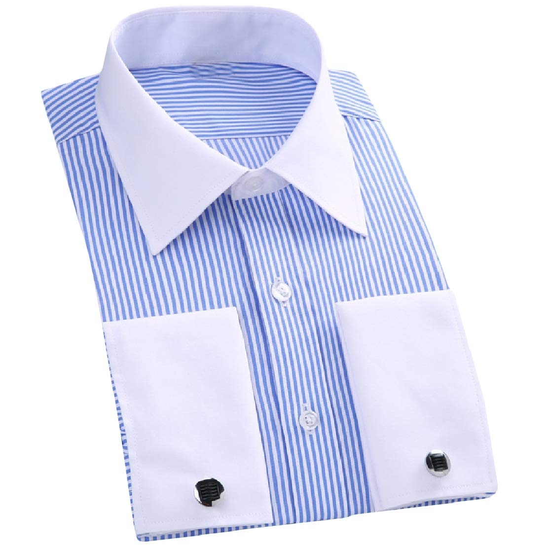 Joe Wenko Mens No-Iron Slim Fit Business Printed Long-Sleeve Work Shirt