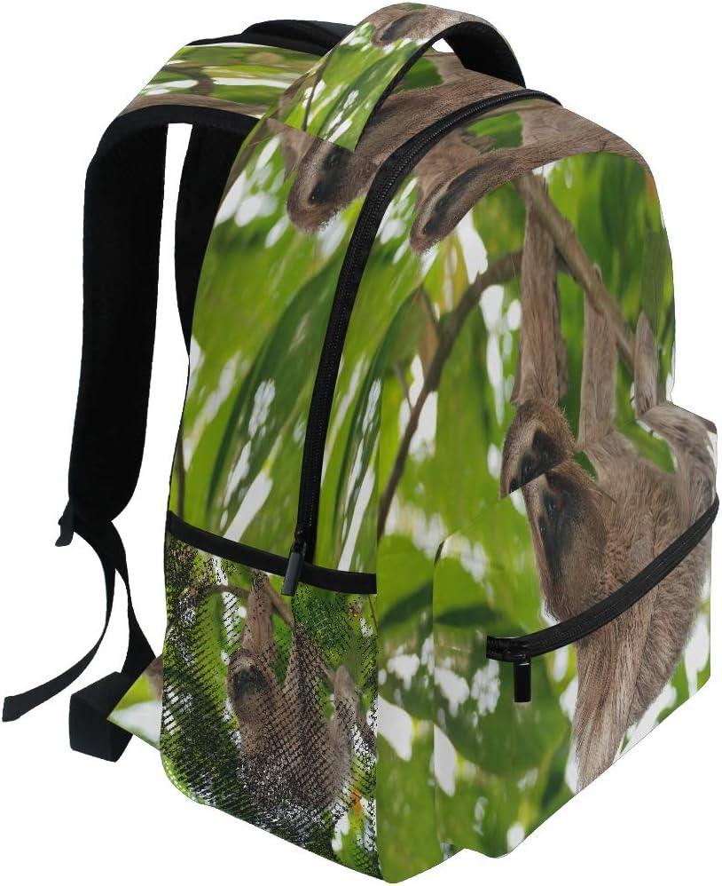 YVONAU Animal Sloth Leaves Kids Backpack School Bookbag Laptop Shoulder Backpack College Bag for Women Men Girls Travel Rucksack Hiking Daypack