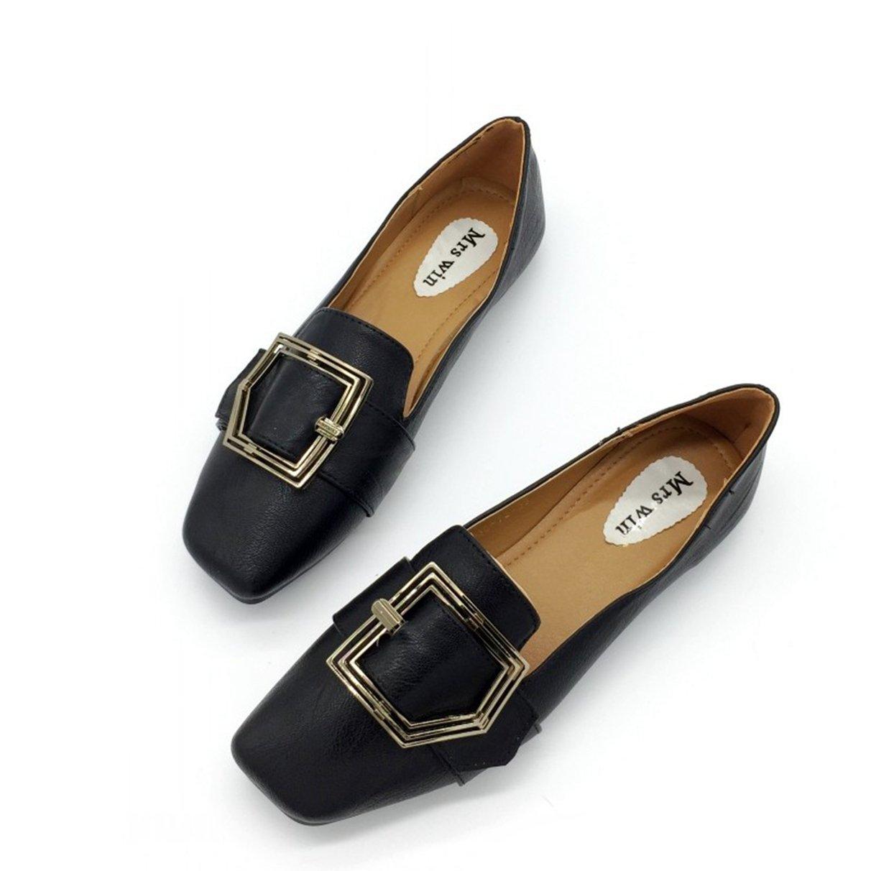 Owen Moll Women Flats, Soft Solid Buckle Slip On Women Square Toe Single Shoes