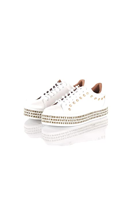 huge discount 50af9 7c8bd Amazon.com | Twin-Set Sneakers Donna 39 Bianco 191tcp166 ...