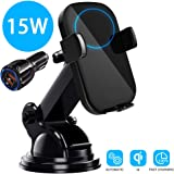 15W Wireless Car Charger, BOBOLONG Qi Auto-Clamping Air Vent Dashboard Car Phone Holder & QC3.0 Car Charger, Compatible for Galaxy S10/S10+/S9,Charging for iPhone 11/11 Pro/11 Pro Max/XSMax/XS/XR