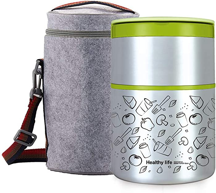 Lille Home 32OZ Vacuum Insulated Stackable Stainless Steel Thermal Lunch box | 2-Tier Bento box/Food Container with Insulated Lunch bag | BPA Free | Leakproof | Adults, Men, Women